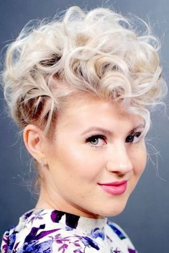 wedding updos for short hair curly faux hawk milabu.co