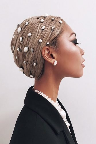 wedding updos for short hair doobie with pearls wrap vanessahong