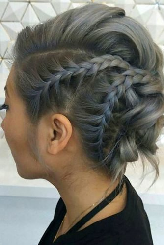 wedding updos for short hair updo pompadour style with braids houseofgen