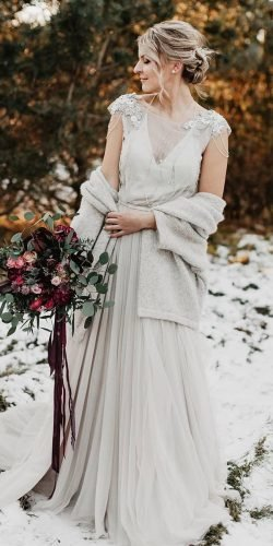winter wedding dresses outfits a line with cap sleeves cozy emiilija bogdaanova.