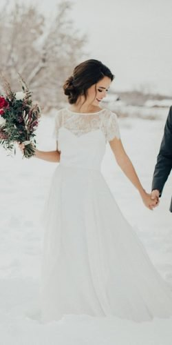 winter wedding dresses outfits a line with cap sleeves lace top nataliewynndesign