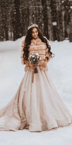 winter wedding dresses outfits a line with fur ulyanashlykova