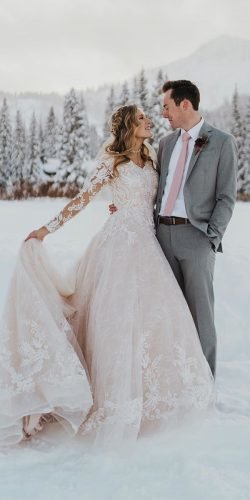 winter wedding dresses outfits a line with long sleeves blush lace emilybphotofilm