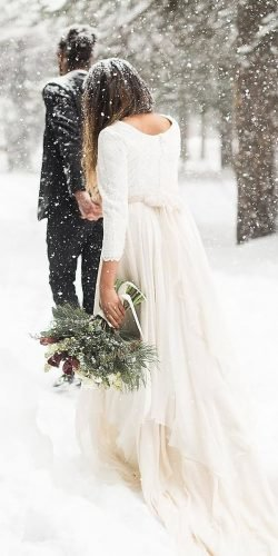 winter wedding dresses outfits a line with long sleeves bow train travisj photo