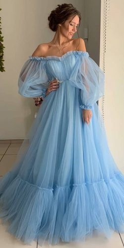 blue wedding dresses a line off the shoulder simple ivory samara