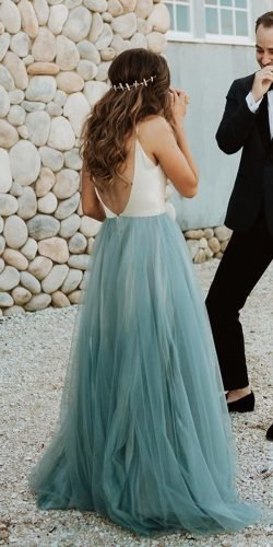 blue wedding dresses a line with spaghetti straps chantel lauren