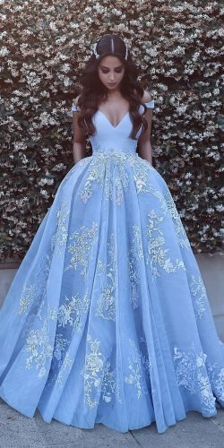 blue wedding dresses ball gown off the shoulder lace saidmhamadofficia