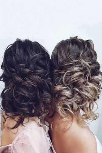 bridesmaid hairstyles elegant simple curly updos for medium hair hairbyhannahtaylor