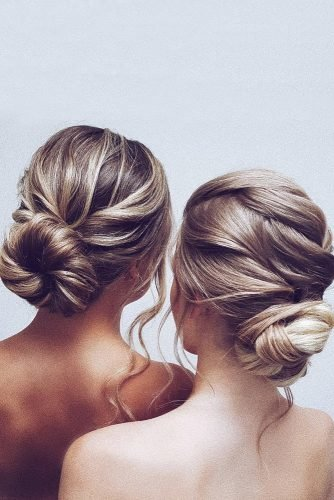 bridesmaid hairstyles elegant simple smooth buns hairbyhannahtaylor