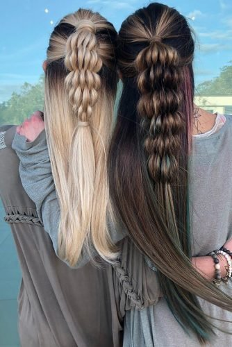 bridesmaid hairstyles long hair half up half down with braided texture capricciriccisalon
