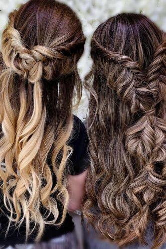bridesmaid hairstyles long hair half up half down with braids samirasjewelry
