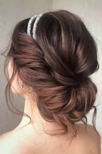 bridesmaid hairstyles low messy updo with silver halo julia_alesionok