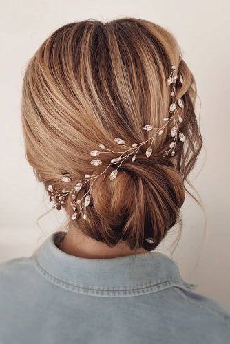 bridesmaid hairstyles low smooth updo with crystal hair clip bridal_hairstylist