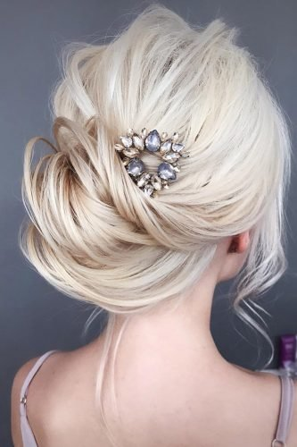 bridesmaid hairstyles low swept updo on blonde hair tonyastylist