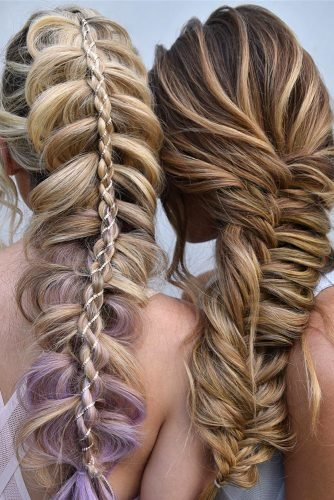 bridesmaid hairstyles mermaid braids on long hair samirasjewelry