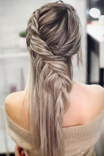 bridesmaid hairstyles simple braided hairstyle on long hair lenabogucharskaya
