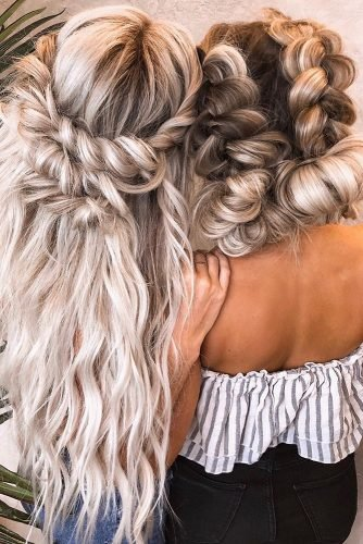 bridesmaid hairstyles simple volume swept and braids on long hair hairby_chrissy