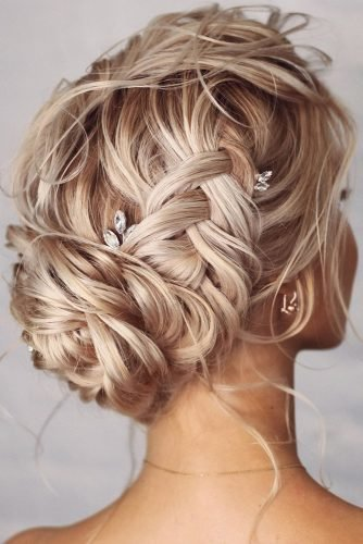 bridesmaid hairstyles textured braided updo lenabogucharskaya