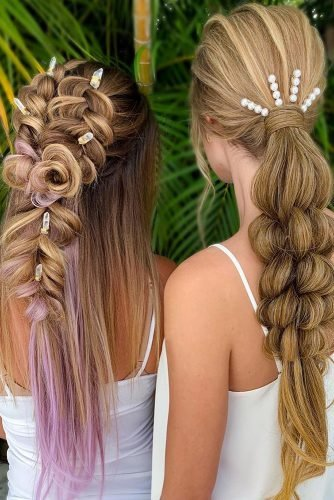 bridesmaid hairstyles unusual unique braided styles on long hair with boho clips samirasjewelry