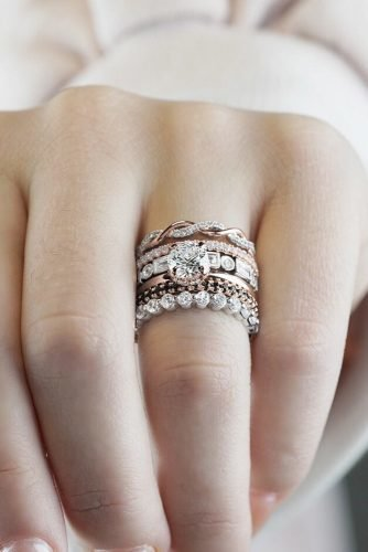 diamond wedding rings round cut diamond mixed gold