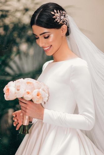 easy wedding hairstyles classy smooth updo with classic bride with veil ax_armina