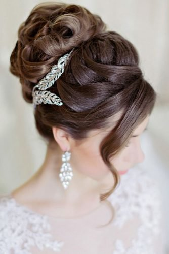 easy wedding hairstyles hign curly updo with sparkle accessory lili.fadeeva
