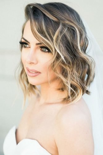 easy wedding hairstyles simple wavy lob with veil whiskersandwillow