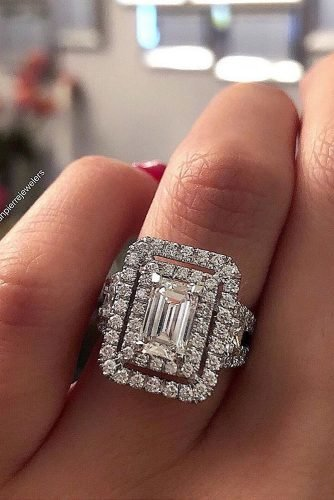 emerald cut engagement rings double halo diamond