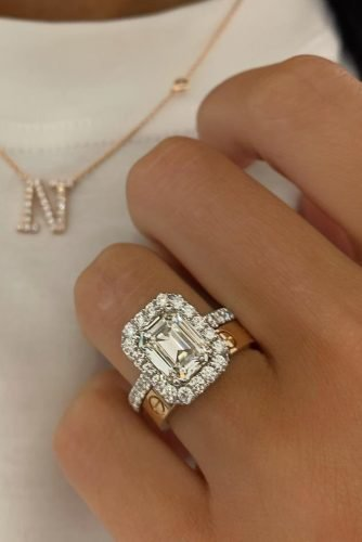 emerald cut engagement rings halo wedding set