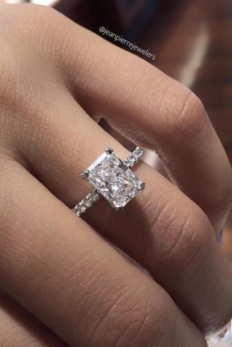 emerald cut engagement rings pave band solitaire diamond