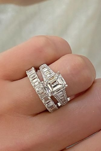 emerald cut engagement rings set white gold