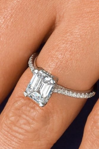 emerald cut engagement rings solitaire pave band ring