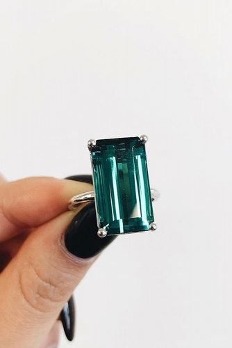 emerald cut engagement rings solitaire tourmaline
