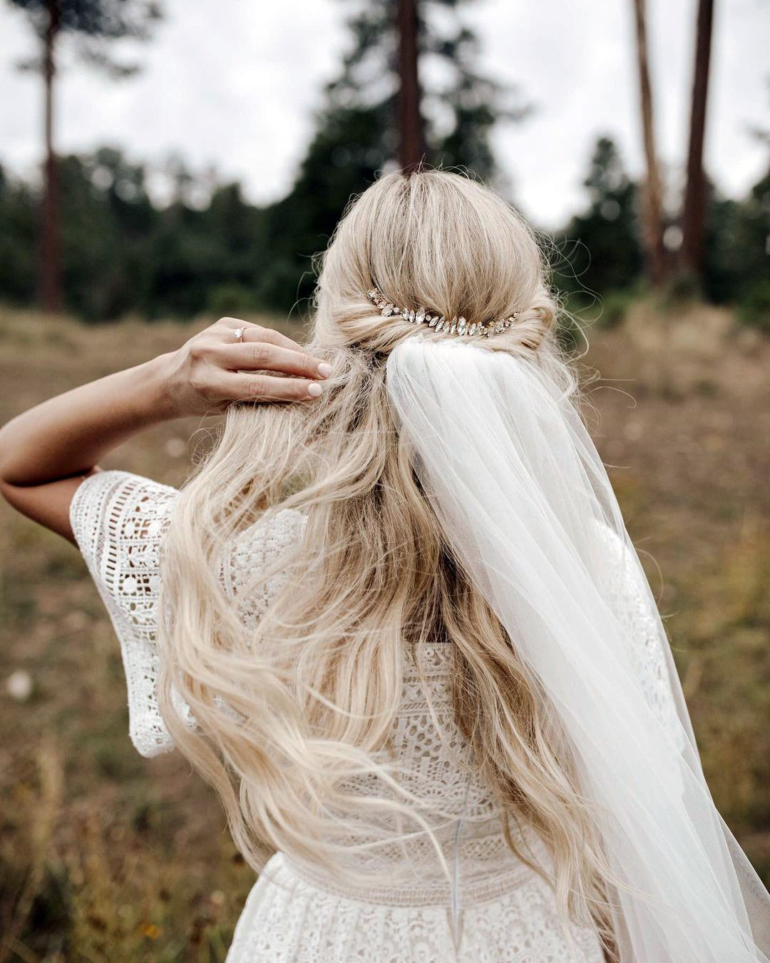 half up half down wedding hairstyles bohemian swept with veil ashpettyhair