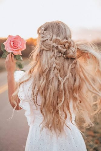 half up half down wedding hairstyles bohemian with braids angelroseturner