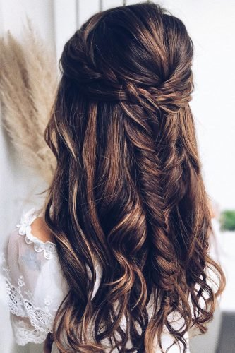 half up half down wedding hairstyles bumped on dark hair with boho braid katya.valentinahair