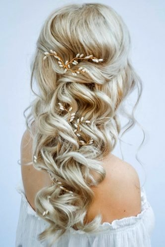 half up half down wedding hairstyles cascading blonde with pearly pins styles_by_reneemarie
