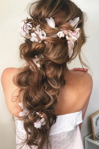 half up half down wedding hairstyles cascading slyghtly messy with flowers isabellajanehairmakeup