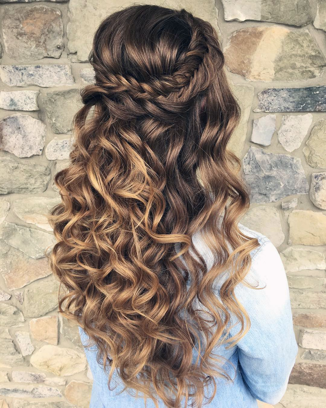 half up half down wedding hairstyles curls and braid on long hair updosbykarina
