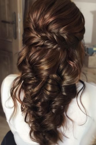 half up half down wedding hairstyles curly cascading on brown hair martinajagr