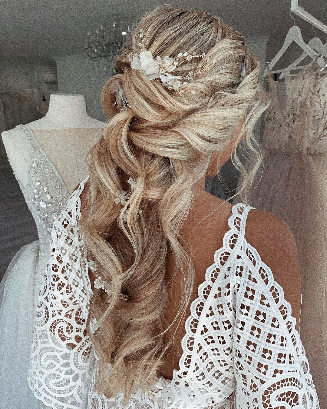half up half down wedding hairstyles curly long blonde with flowers ulyana.aster