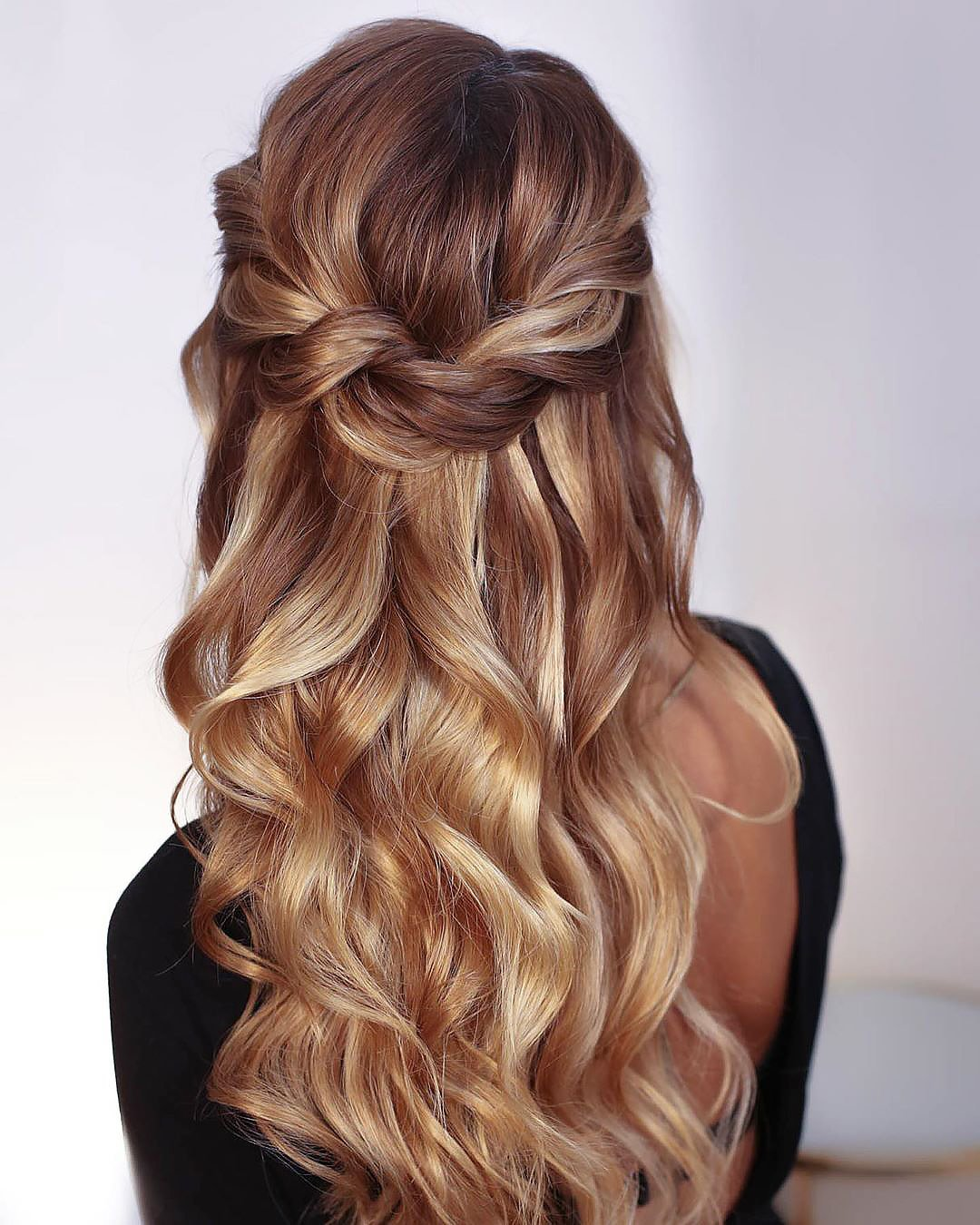 half up half down wedding hairstyles curly swept blonde hair kristinagasperasacademy