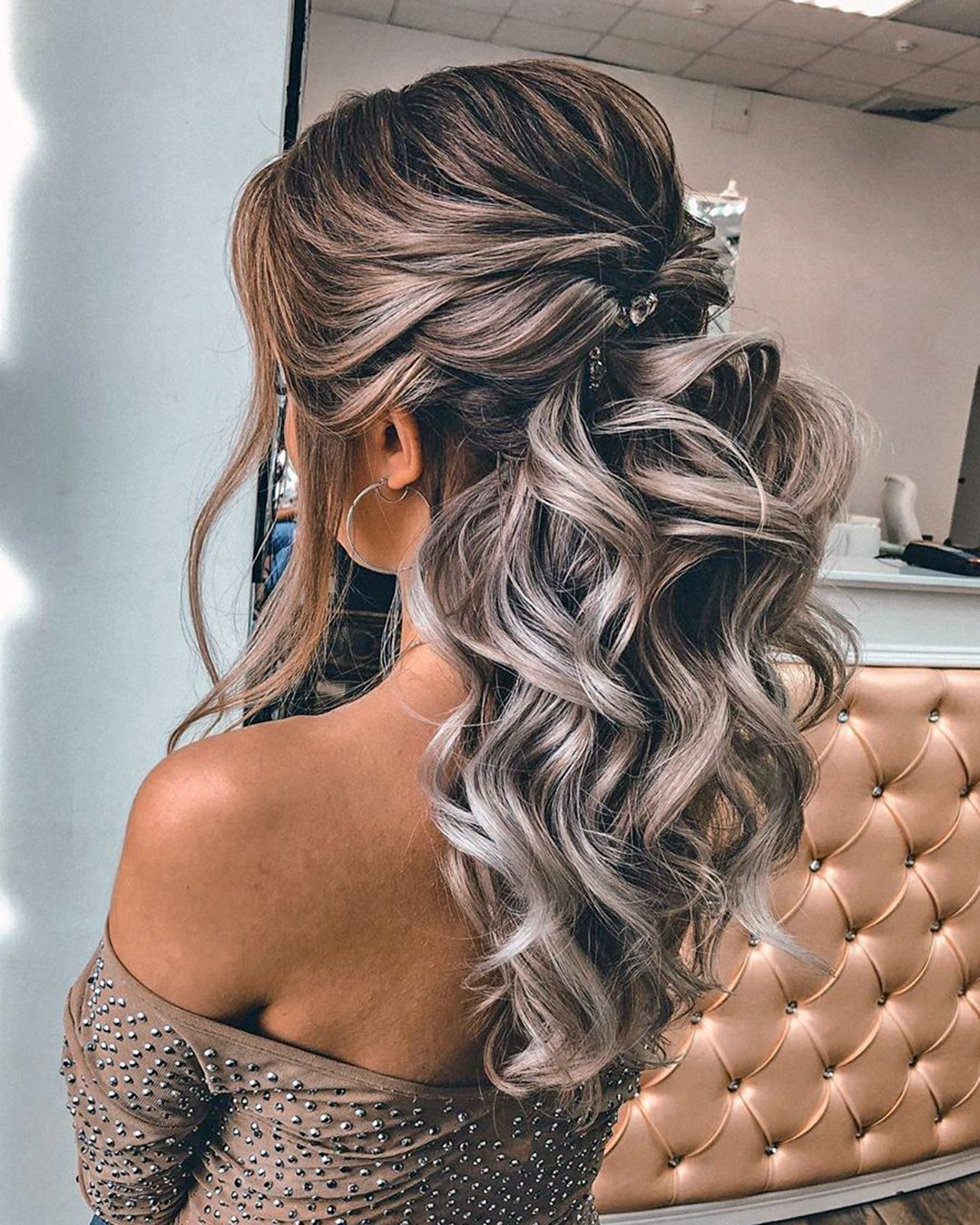 half up half down wedding hairstyles curly swept loose curls elstile