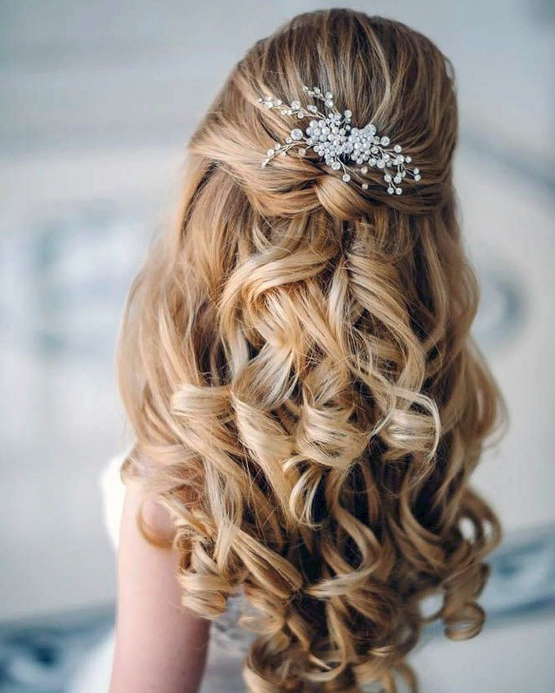 half up half down wedding hairstyles curly volume vith pin pearls elstile