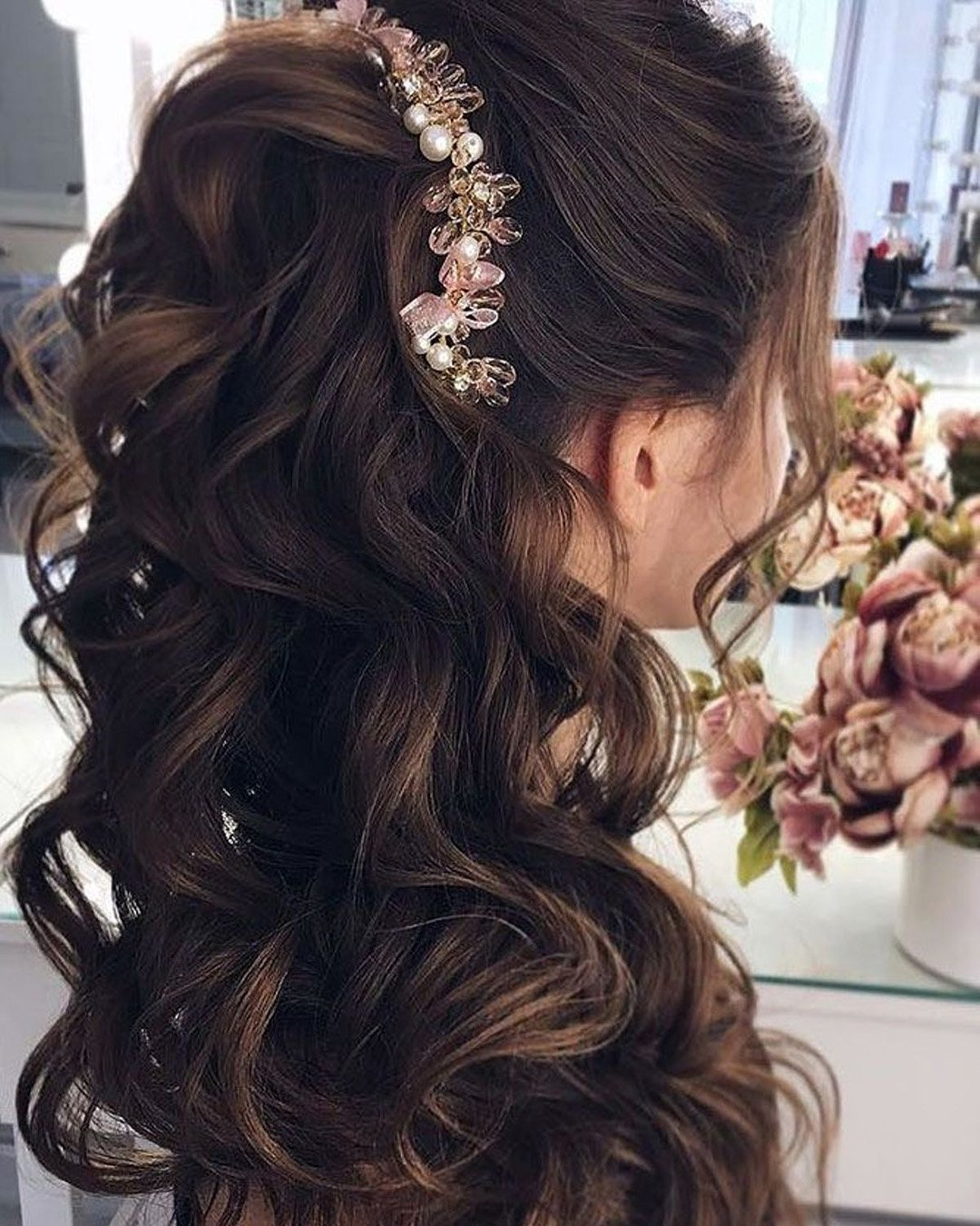half up half down wedding hairstyles elegant high with hairpins nastyanude