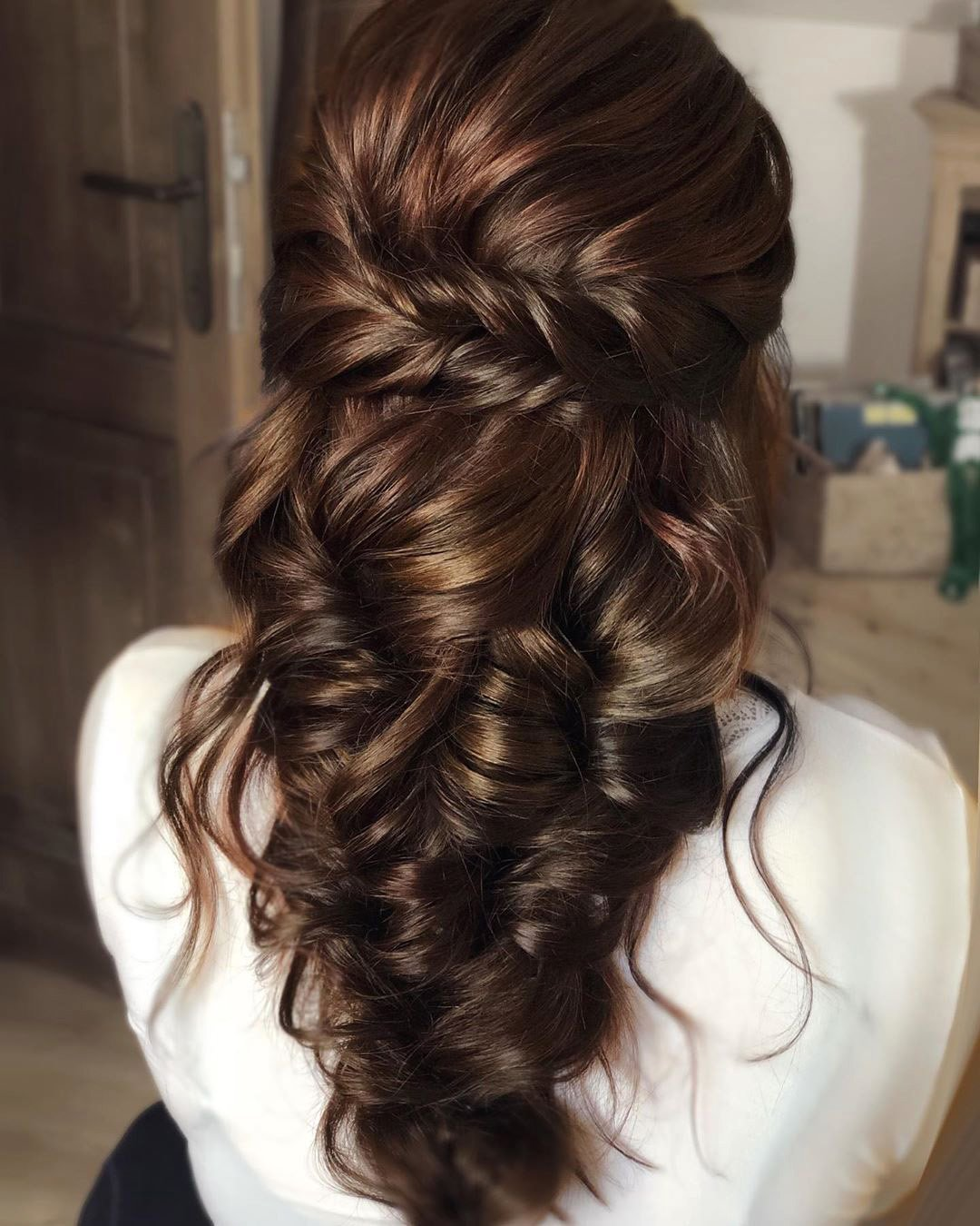 half up half down wedding hairstyles elegant swept cascding on brown hair martinajagr