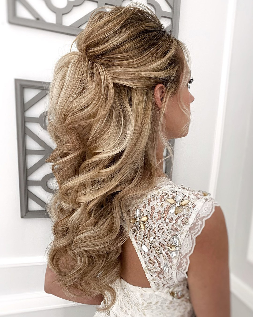 half up half down wedding hairstyles elegant volume curls with ponytail juliafratichelli