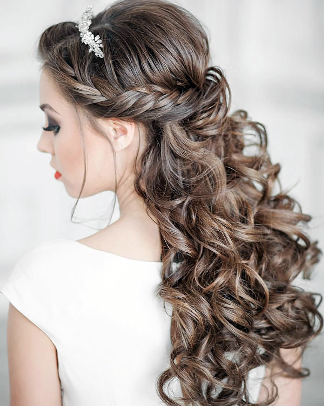 half up half down wedding hairstyles elegant with side braid and curls elstile