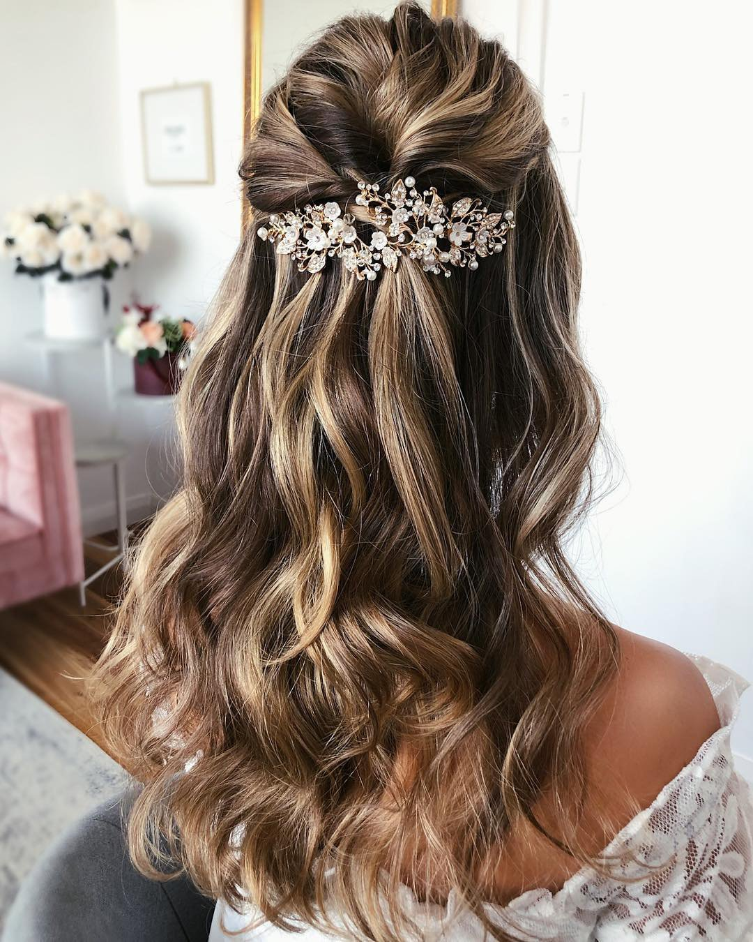 half up half down wedding hairstyles long blonde hair with curls caraclyne.bridal