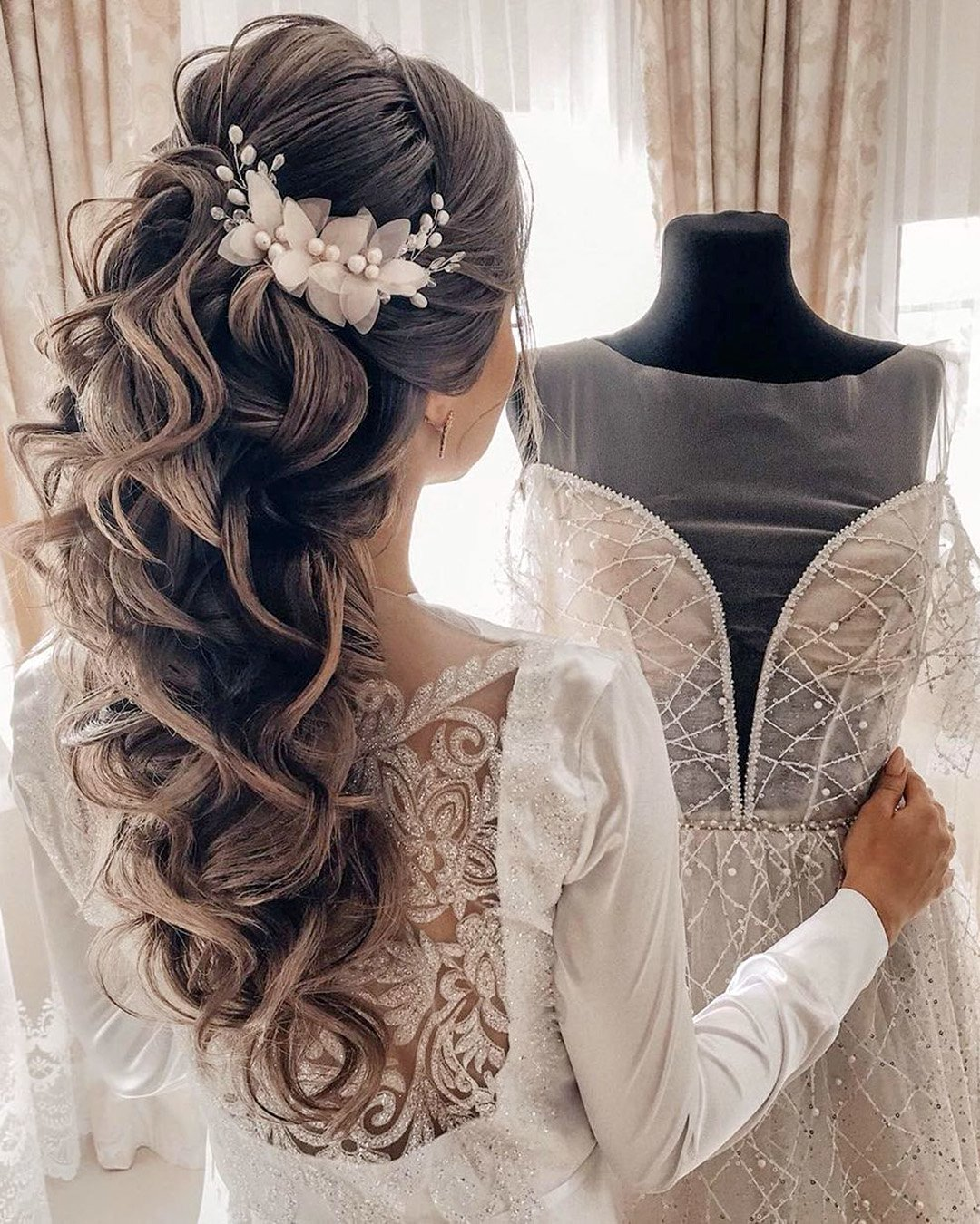 half up half down wedding hairstyles long curly with flower pin elstilemsk